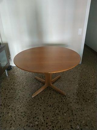 mesa de madera comèdor redonda extensible