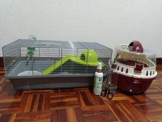 Pack jaula y transportín para roedores