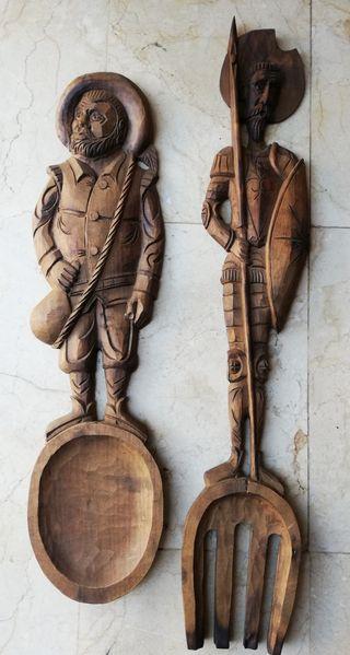 Don Quijote y Sancho Panza madera 75cm