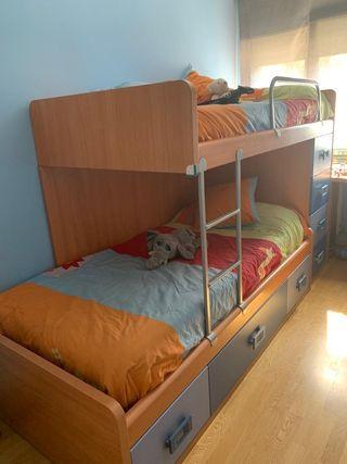 camas litera 90x180. nuevas con armario de cajones