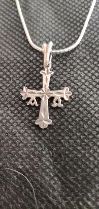 cadena y cruz de Asturias plata