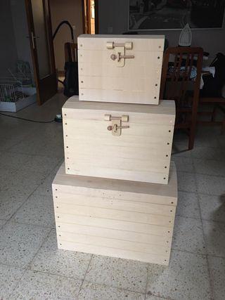 3 Cofres de madera nuevos