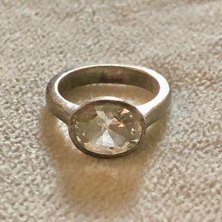 Vintage 925 Silver Large Oval CZ Ring Size J