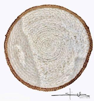 Alfombra Yute Redonda - Natural con borde Blanco