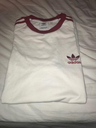Camiseta adidas blanca y roja talla M