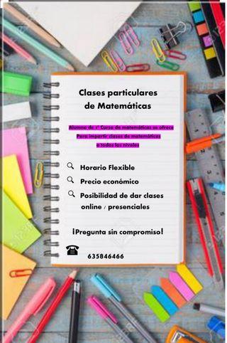 Se ofrecen clases particulares de matemática
