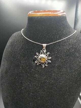 cadena de plata y colgante ambar
