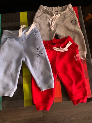 Lote 3 pantalones chándal bebé 6-12 m freestyle