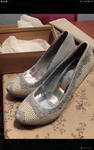 Zapatos fiesta, novia, talla 39