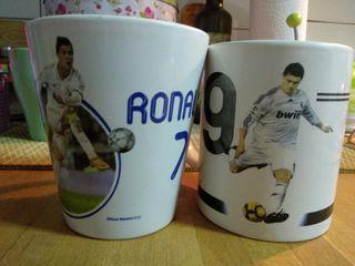 Dos tazas de Cristiano Ronaldo, CR7 en Real Madrid