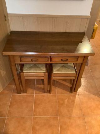 Mesa extensible, madera maciza