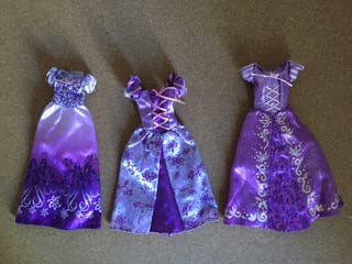 3 Vestidos de muñeca barbie de Rapuncel