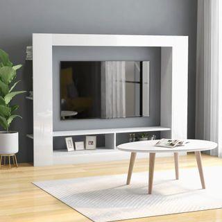 Mueble para TV blanco brillante 152x22x113 cm