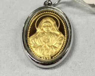 Colgante medalla religioso oro-plata