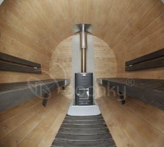 Sauna exterior de barril