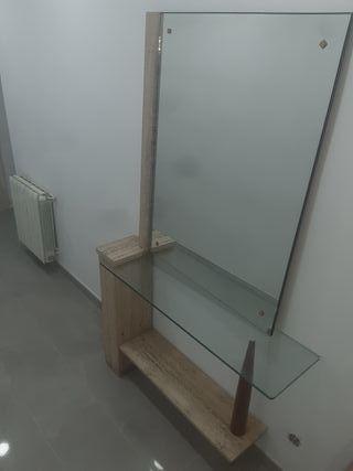 recibidor más espejo marmol