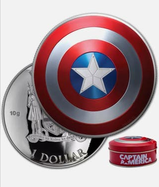 Moneda de plata Capitán América Marvel