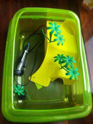 Pecera para tortugas + calentador agua