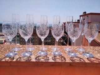 Espectacular lote de copas de cristal Bohemia