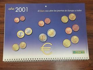 CALENDARIO 2001 ONCE. MONEDAS EURO RELIEVE. RARO.