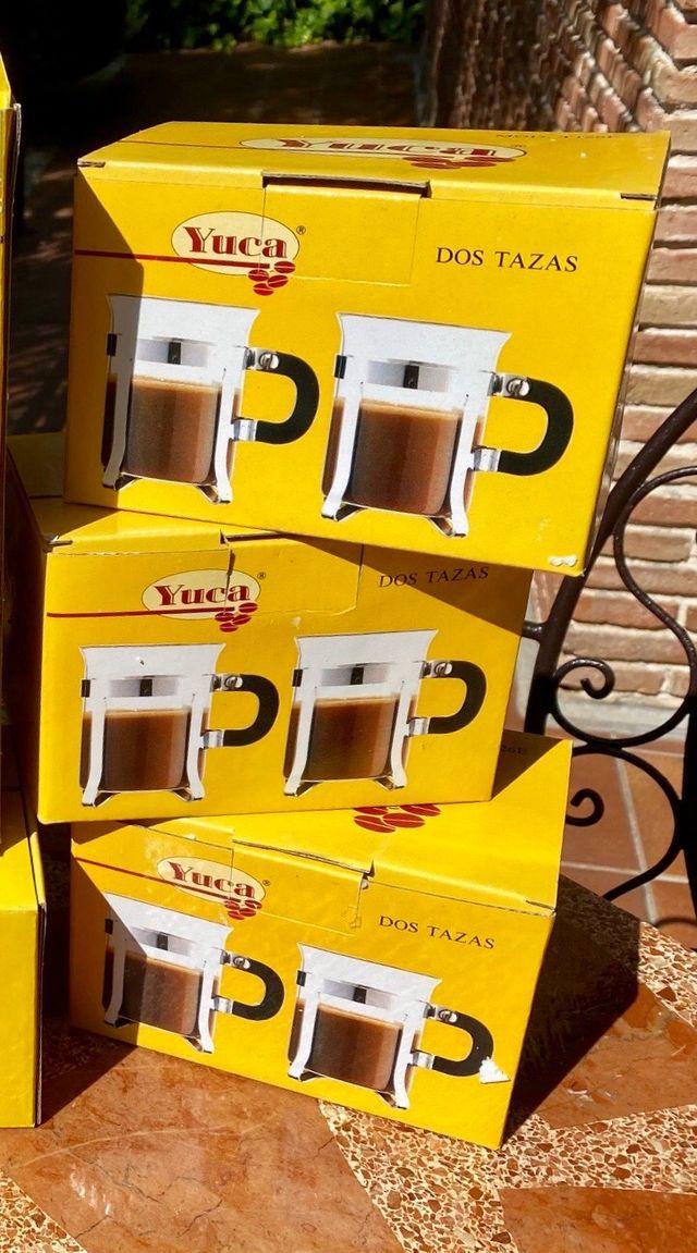 6 tazas de café/té de cristal acero, más bandeja