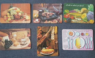 Calendarios de bolsillo bodegones comida años 90