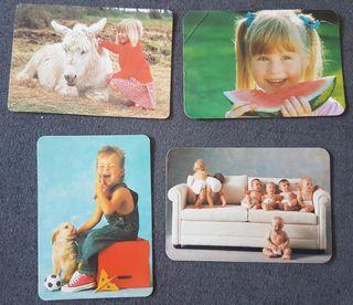 Calendarios de bolsillo niños y mascotas años 90
