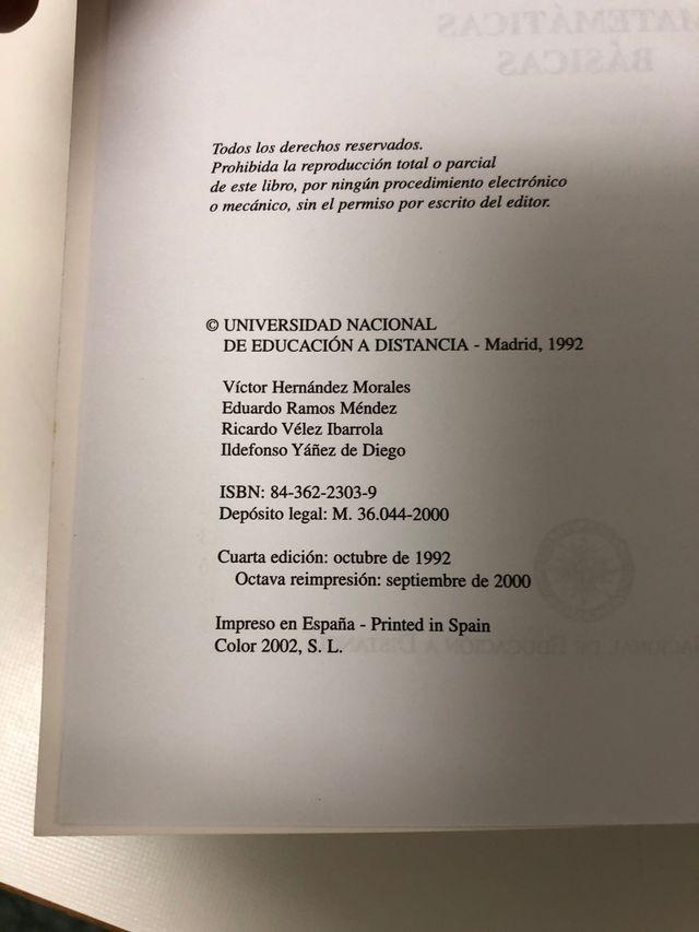 Libro matemáticas basicas de la UNED