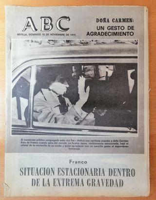 PERIÓDICO ABC ENFERMEDAD DE FRANCO. 16 NOV 1975.