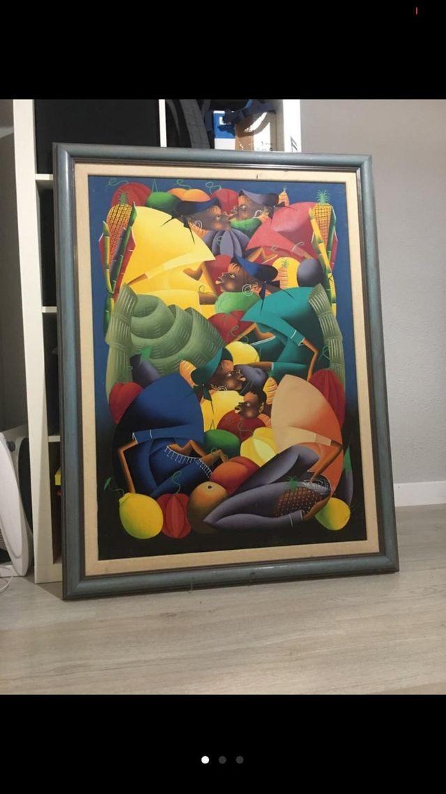 Pintura al óleo (naif) original cuadro.