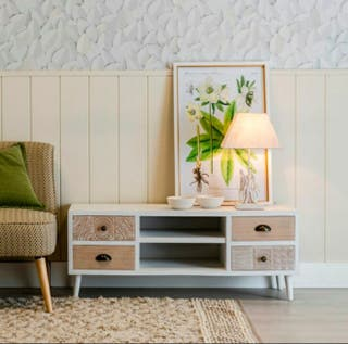 Mueble de Tv Madera Grabada Vintage Relieve