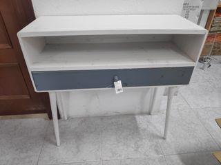 Mueble consola vintage blanca con cajon azul