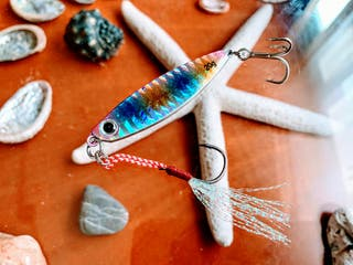 Jig Blue Pink Yellow Brillo Triple + Anzuelo Pluma