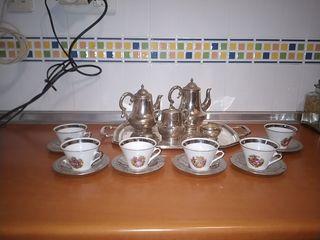 juego de café con tazas porcelana