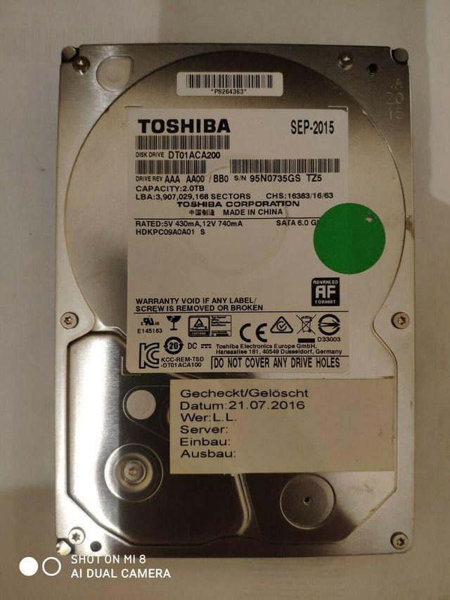 2 TB HDD Disco Duro Interno TOSHIBA 3.5'' 7200 RPM