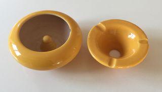 cendrier vide poche ou bol jaune safran