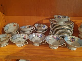 juego de té antiguo porcelana Manises