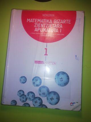 Libro de matemáticas en euskera de 1.Bachillerato
