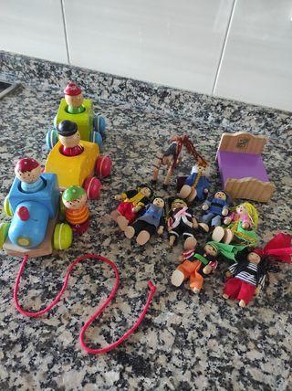 tren madera y muñecos pirata y princesa Lidl