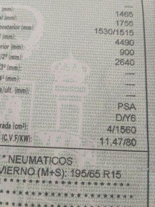MOTOR 1.6 PSA MAZDA 3 TIPO D/Y6 109 CV