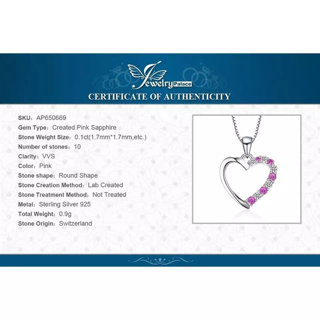 J.P Created Pink Sapphire Pendant Necklace 925 S
