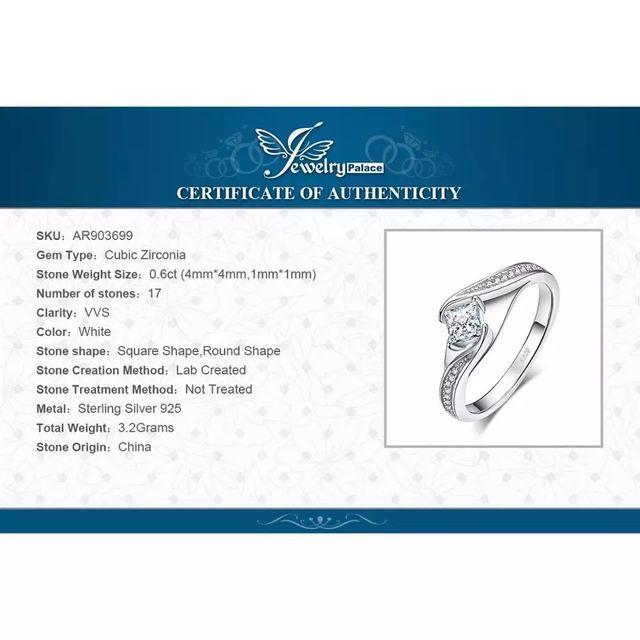 J.P Princess Cut Engagement Ring 925 S.S