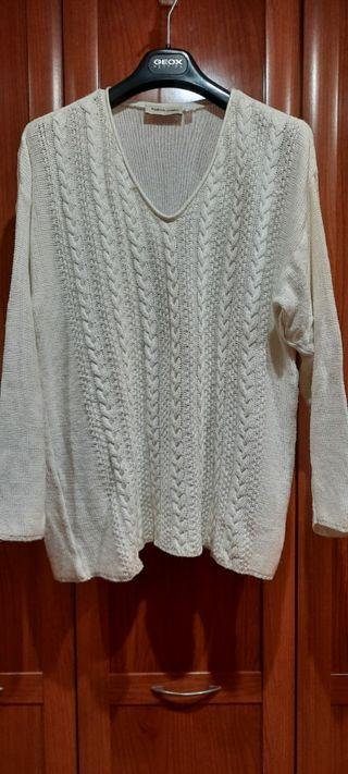 Jersey blanco de punto, mujer