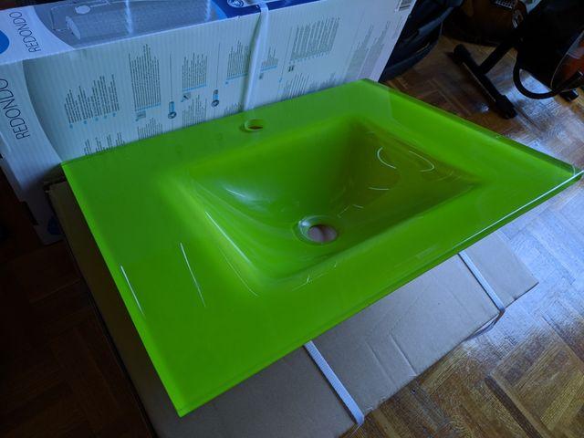 Lavabo cristal verde 58x48,5 cm
