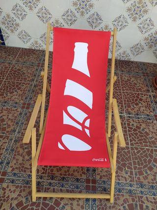 Tumbona Hamaca madera y tela Coca-Cola