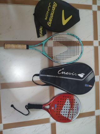 Raqueta de tenis y Raqueta de Pádel.