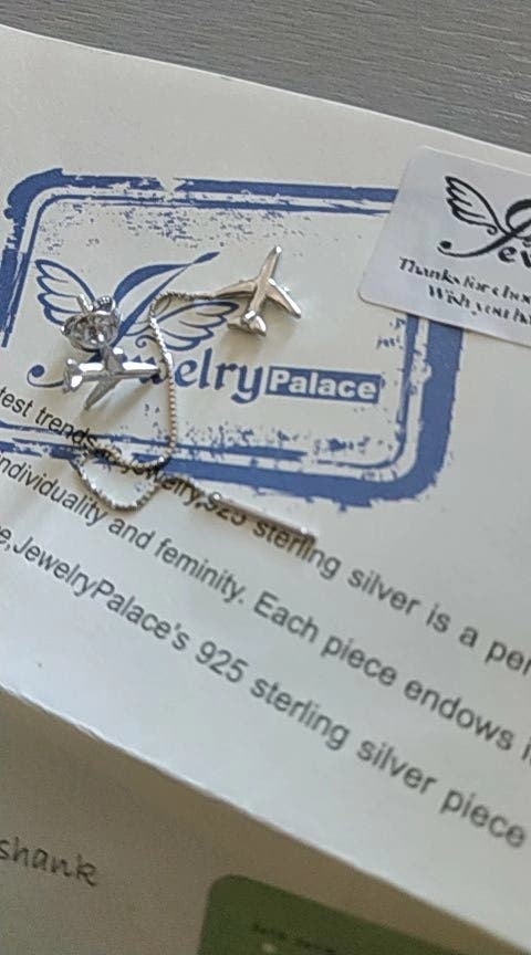 J.P Airplane Thread Drop Earrings 925S.S