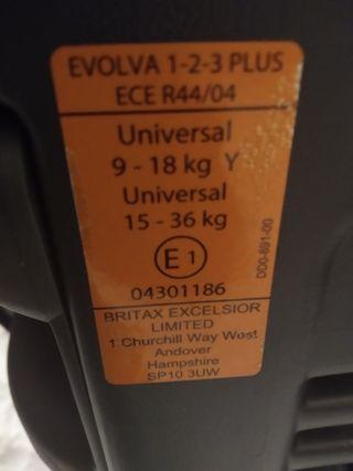 silleta coche britax evolva 123 plus