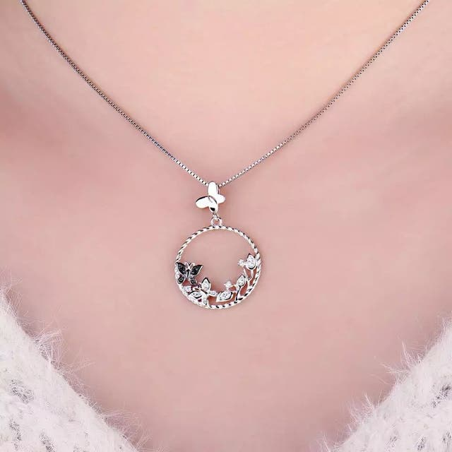 Butterfly Flower Natural Spinel Pendant Necklac