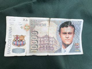 Billete de 10000 pesetas Luis Enrique fc Barcelona